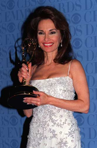 A triumphant Susan Lucci, star of the soap opera &#34;All My Children,&#34; holds the Daytime Emmy statue she waited 19 years to receive, during the Daytime Emmy Awards in New York, Friday, May 21, 1999. Lucci won for Best Actress in a Drama Series. <span class=meta>(AP Photo&#47;Mitch Jacobson)</span>
